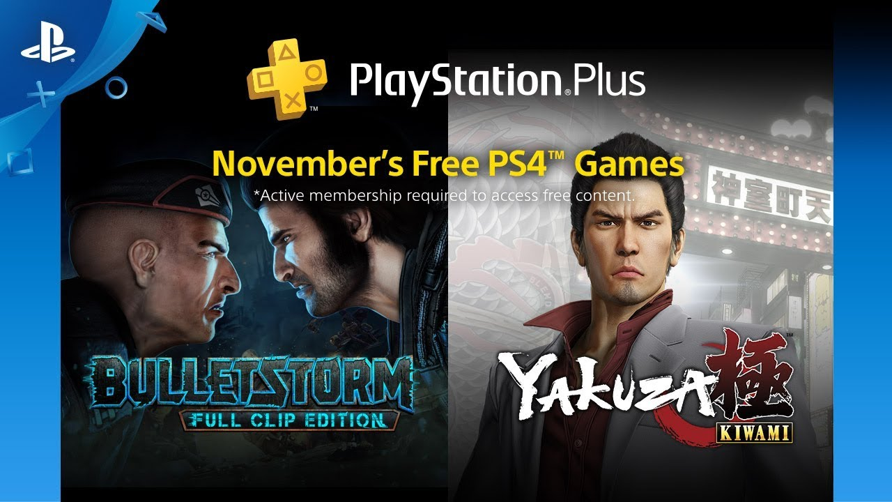 PlayStation Plus Ноябрь 2018: Bulletstorm Full Clip Edition и Yakuza Kiwami